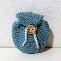 æklet rygsæk nøglering med handmade knap