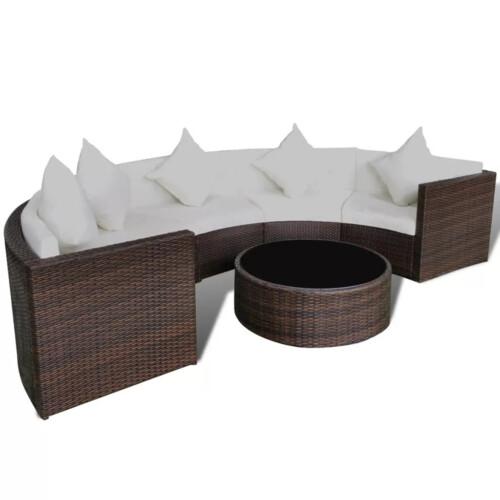 Halvrundt loungesæt polyrattan