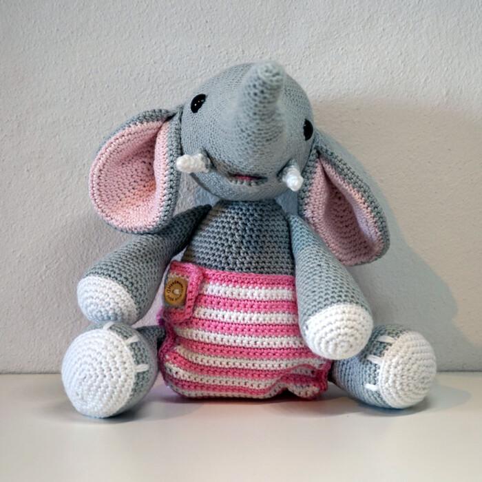 Hæklet Elefant Baby Elvira